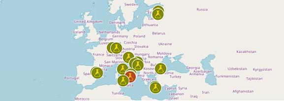 Zemljevid partnerjev na projektu CyberSEAS